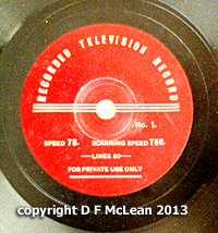 The Major Radiovision disc label